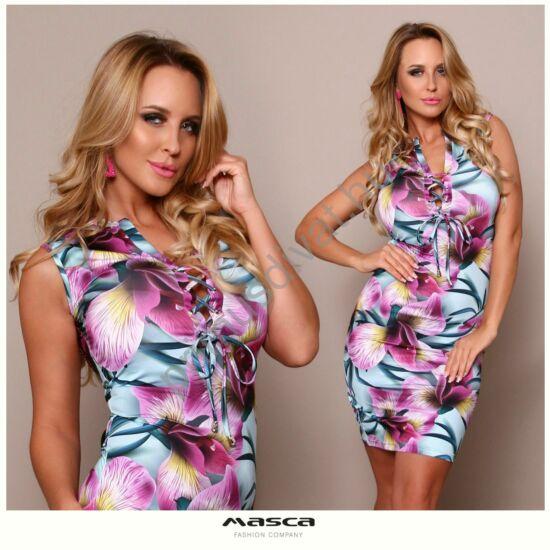 Masca Fashion fűzős dekoltázsú orchidea mintás ujjatlan szűk miniruha