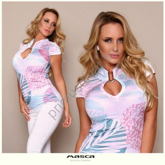 Masca Fashion nyitott vállú, pasztell mintás fehér bő szabású felső, csípőjén passzéval