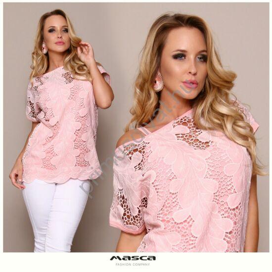 Masca Fashion két részes, rövid ujjú rózsaszín madeira mintás felső, spagettipántos szűkebb viszkóz alsó résszel