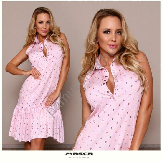 Masca Fashion galléros, patentos dekoltázsú ujjatlan, apró horgonymintás rózsaszín csíkos vászon ingruha, fodros aljjal