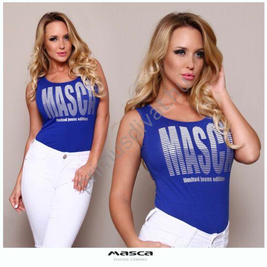 Masca Fashion trikópántos királykék top, nagyméretű csíkos márkafelirattal