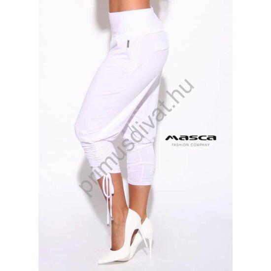 Masca Fashion magas derekú zsebes fehér lezser nadrág, széles passzéval, szárán kötővel ráncolva