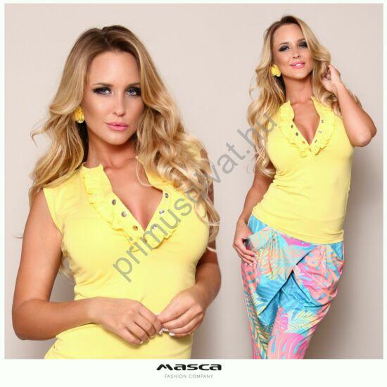 Masca Fashion fodorszegélyes patentos dekoltázsú ujjatlan citromsárga szűk felső