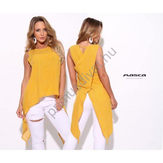 Masca Fashion ujjatlan okkersárga-fehér pöttyös lezser felső, hátán átlapolt hosszabb szabással, vékony szövött anyagból