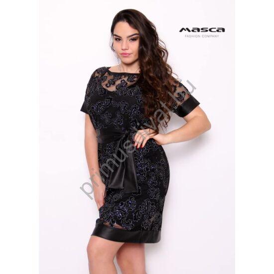 Masca Fashion két részes, rövid ujjú áttetsző fekete strasszos alkalmi ruha, spagettipántos szűkebb alsó résszel