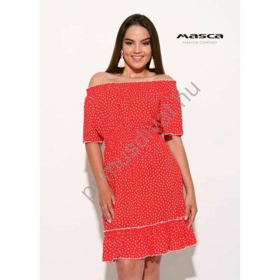 Masca Fashion vállra húzható gumírozott nyakú, piros-fehér pöttyös rövid ujjú vászon ruha, alján fodorral