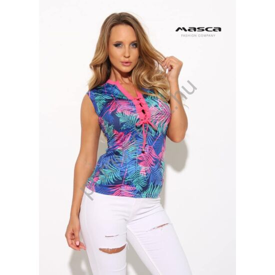 Masca Fashion fűzős dekoltázsú, pink-zöld levélmintás kék rövid ujjú szűk felső