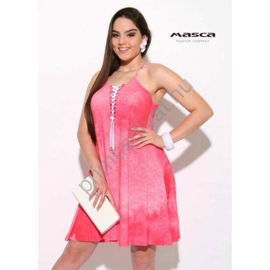 Masca Fashion spagettipántos fűzős dekoltázsú, A-vonalú batikolt pink lenge miniruha