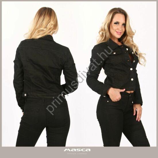 Masca Fashion rugalmas fekete farmerdzseki, hátán hímzett színazonos márkajelzéssel