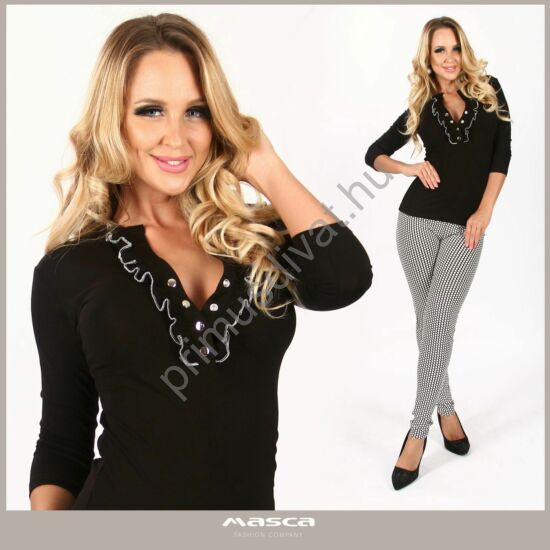Masca Fashion fehér tűzéses fodorszegélyes, patentos dekoltázsú háromnegyedes ujjú fekete szűk felső