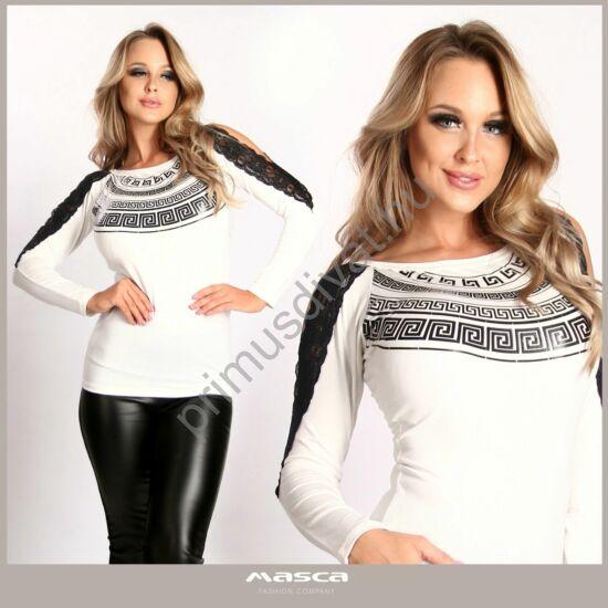 Masca Fashion fekete csipkeszegélyes nyitott vállú, csónaknyakú hosszú ujjú fehér felső, mellén nyomott görög mintával
