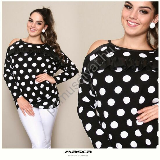 Masca Fashion pántos nyitott vállú, textilbőr fodros fekete-fehér pöttyös laza hosszú ujjú felső