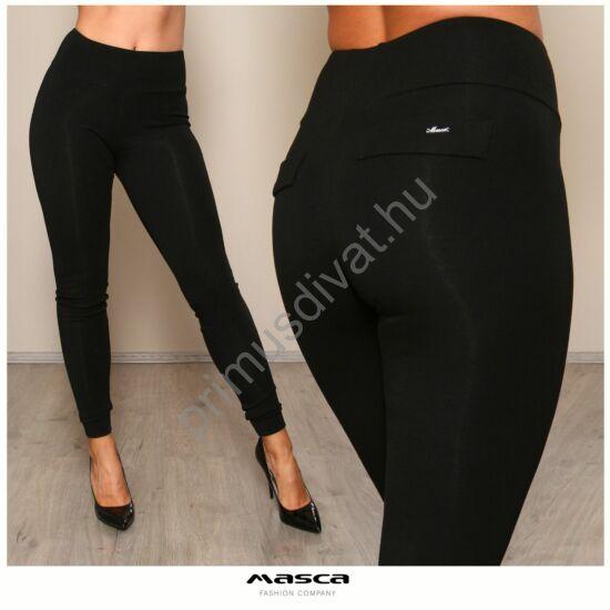 Masca Fashion magas derekú vastag fekete viszkóz cicanadrág, leggings, jól táguló rugalmas anyagból