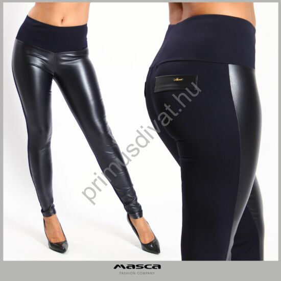 Masca Fashion rugalmas textilbőr elejű, magas derekú sötétkék leggings, cicanadrág