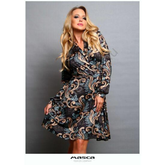 Masca Fashion átlapolt mellrészű, loknis aljú, bronz-kék indamintás barnás tónusú hosszú ujjú ruha