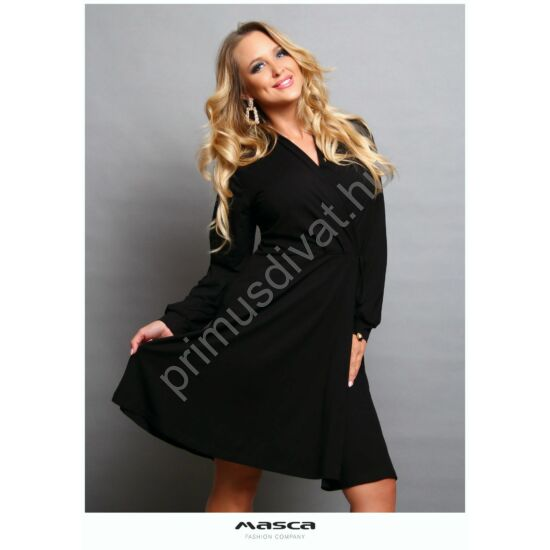 Masca Fashion átlapolt mellrészű, loknis aljú hosszú ujjú fekete ruha, derekán kötővel