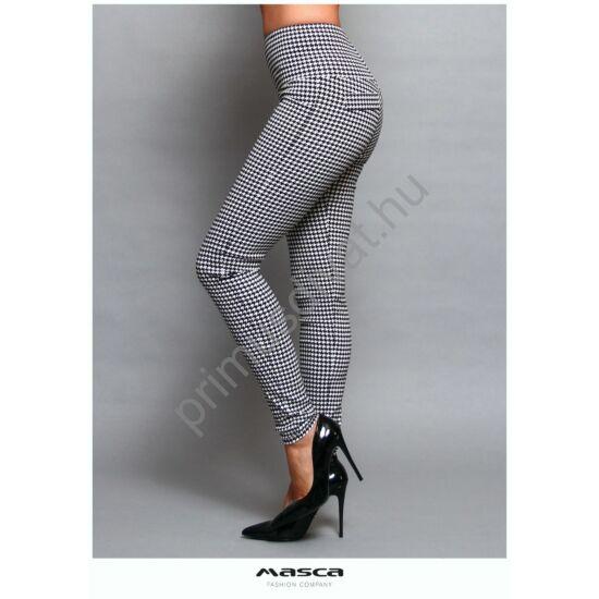 Masca Fashion magas derekú fekete-fehér tyúklábmintás rugalmas leggings, cicanadrág, hátán zsebfedőkkel