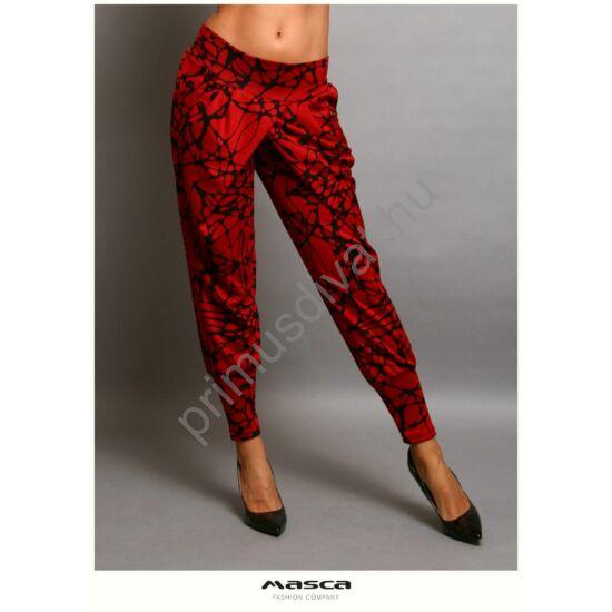 Masca Fashion átlapolt szabású lezser, vékony kötött fekete mintás piros zsebes nadrág, széles passzékkal