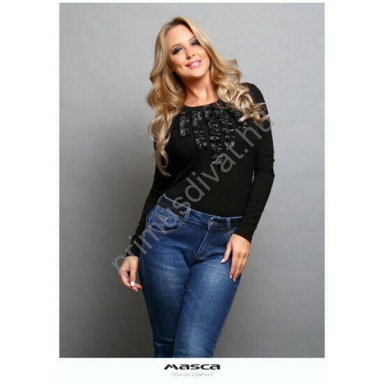 Masca Fashion textilbőr fodorrátétes hosszú ujjú fekete szűk felső