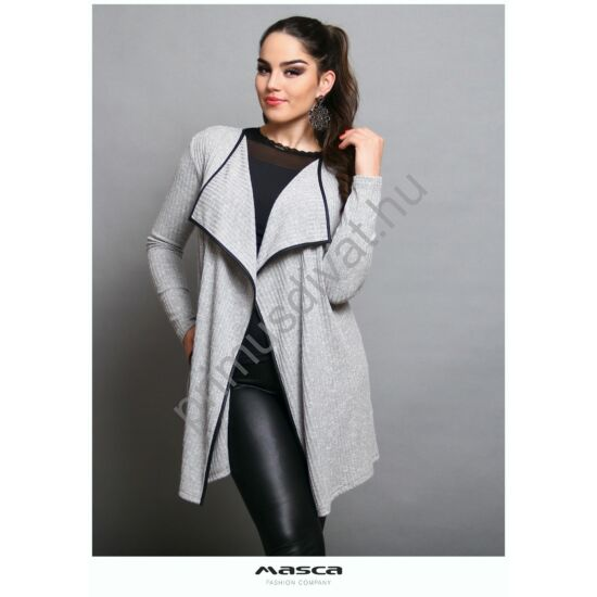 Masca Fashion kihajtós galléros rugalmas, bordás kötött szürke-melange lezser zsebes kardigán, fekete műbőr szegéllyel