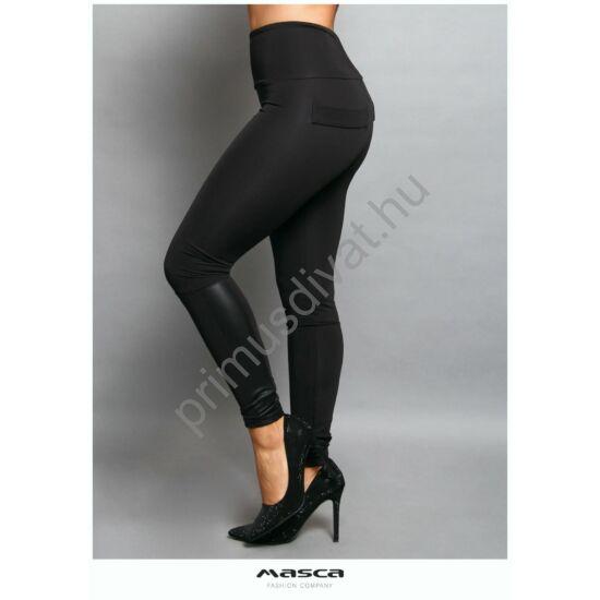 Masca Fashion magas derekú, belül bolyhos vastag fekete cicanadrág, leggings, szárán műbőr betéttel, jól táguló rugalmas anyagból
