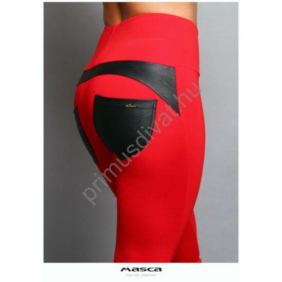 Masca Fashion magasított derekú piros elasztikus punto leggings, cicanadrág, hátul íves szabással, fekete textilbőr zsebbel, betéttel