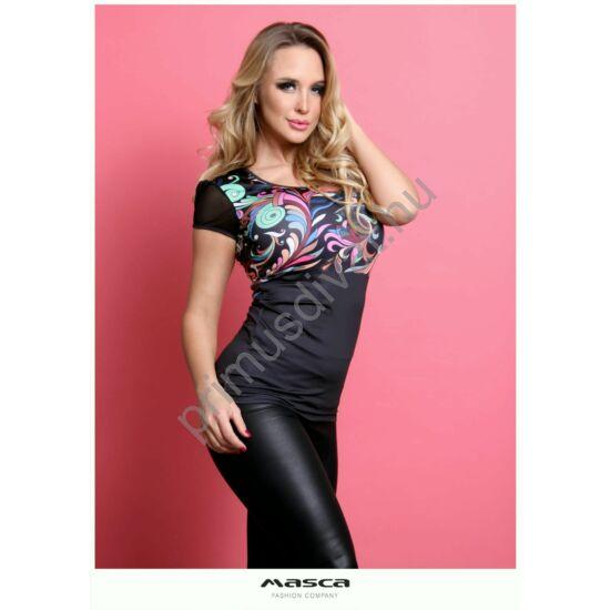 Masca Fashion környakas, muszlin rövid ujjú színes indamintás fekete szűk felső