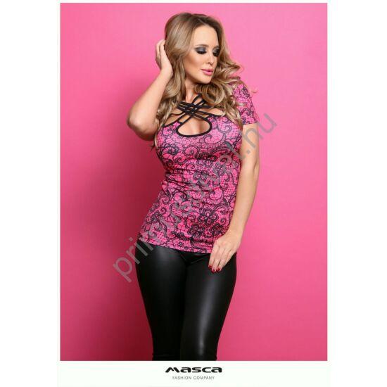 Masca Fashion keresztpántos kivágott dekoltázsú rövid ujjú, fekete csipkemintás pink szűk felső