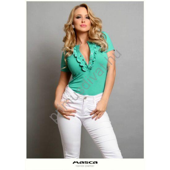 Masca Fashion fodorszegélyes patentos dekoltázsú rövid ujjú szűk türkizzöld felső