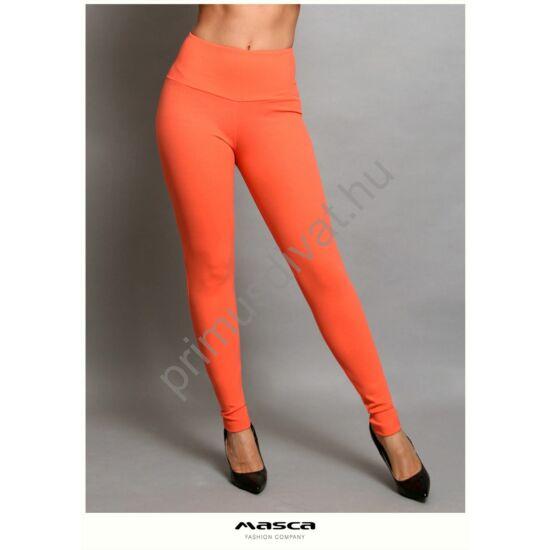 Masca Fashion magasított derekú narancssárga elasztikus leggings, cicanadrág, hátul íves szabással, hímzett zsebbel