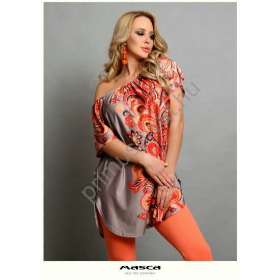 Masca Fashion vállra húzható gumírozott nyakú, drapp alapon színes virágmotívumos lezser rövid ujjú felső, tunika, alján íves szabással