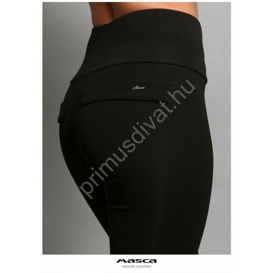 Masca Fashion magas derekú, belül bolyhos, vastag rugalmas fekete viszkóz cicanadrág, leggings, hátán zsebfedőkkel