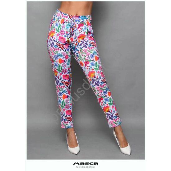 Masca Fashion kötős derekú, zsebes, fehér alapon színes virágmintás nadrág
