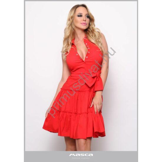 Masca Fashion galléros, patentos dekoltázsú, fodros aljú A-vonalú piros ujjatlan ruha, megkötős övvel, rugalmas szövött anyagból