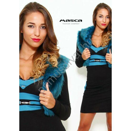 Masca Fashion galléros, rövid állású zöldeskék műszőrme mellény