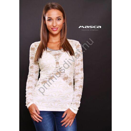 Masca Fashion rafináltan alábélelt, hosszú ujjú fehér-arany csipkés felső, nyakán ezüst paszpóllal
