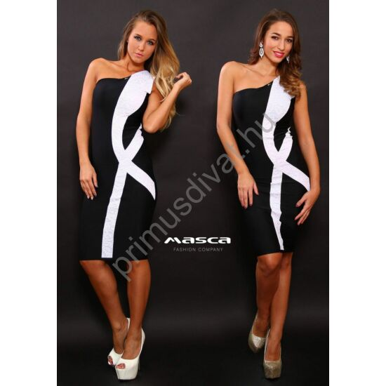 Masca Fashion aszimmetrikus szabású, ujjatlan fekete alkalmi ruha, fehér csipkebetét díszítéssel