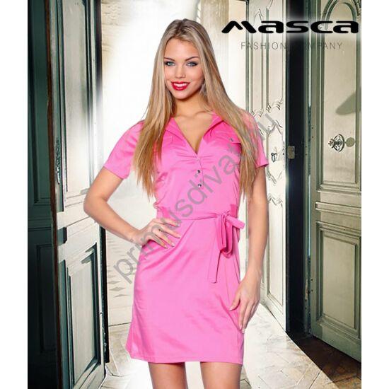 Masca Fashion ékszerpatentos, rugalmas, selymes fényű puplin ruha, derekán kötővel