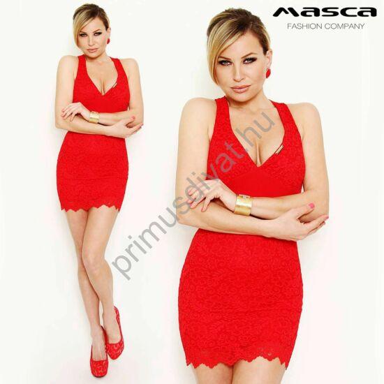 Masca Fashion alábélelt, piros csipkés, ujjatlan Szorcsik Viki miniruha