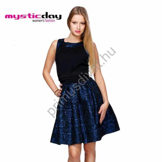 Mystic Day sötétkék lurex szállal átszőtt fekete, tüllel és szaténnal alábélelt loknis, ujjatlan alkalmi ruha