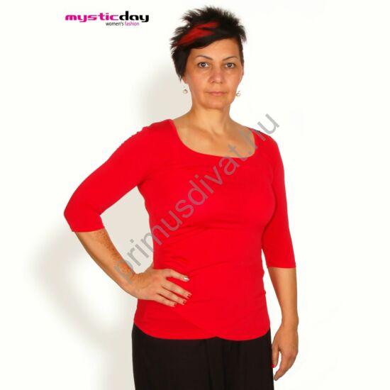 Mystic Day háromnegyedes ujjú, oldalán csípésekkel ráncolt piros póló