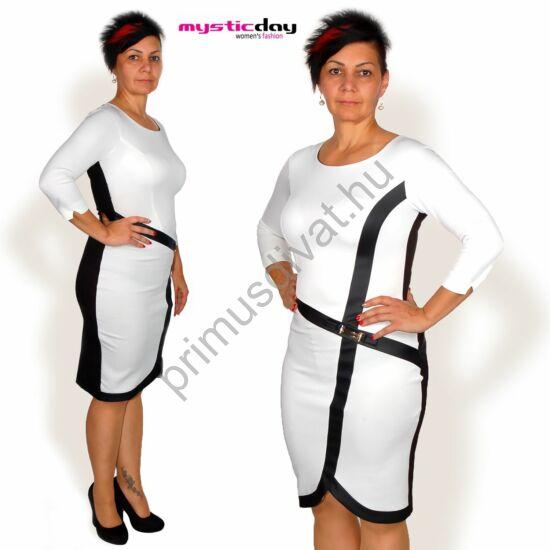 Mystic Day háromnegyedes ujjú, fehér elejű ruha, fekete műbőr betétekkel