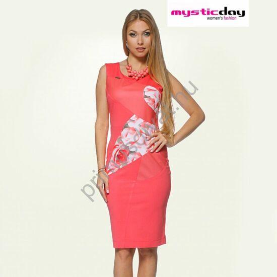 Mystic Day rózsamintás és műbőr betétes korall színű ujjatlan ruha
