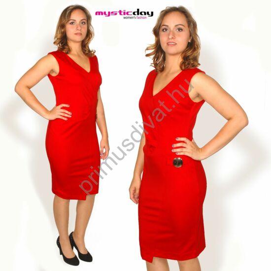 Mystic Day ujjatlan piros ruha, elején csípésekkel, arany színű fém dísszel