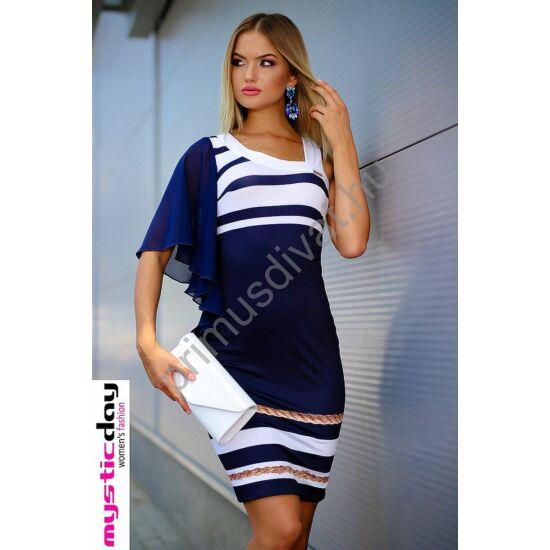 Mystic Day aszimmetrikus nyakkivágású, muszlin lepkeujjú kék-fehér tengerészcsíkos rugalmas anyagú ruha