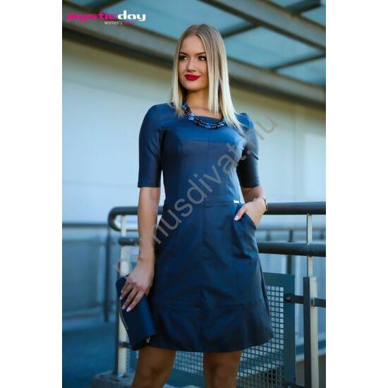 Mystic Day A-vonalú sötétkék textilbőr zsebes Zsófi ruha