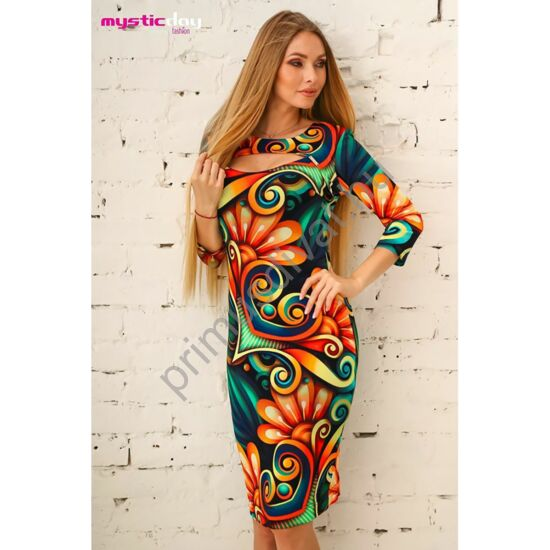 Mystic Day színes, élénk mintás, kivágott dekoltázsú, háromnegyedes ujjú rugalmas viszkóz Brigitta ruha