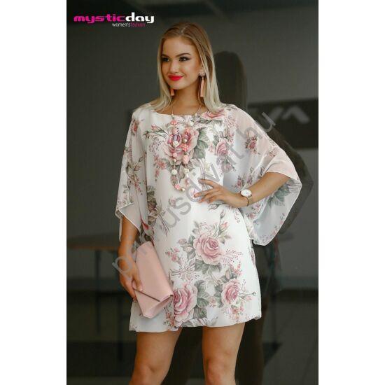 cf0327b4e Mystic Day bő szabású rózsamintás ekrü muszlin Mariann ruha, rugalmas  viszkóz alábéleléssel - Md9-132