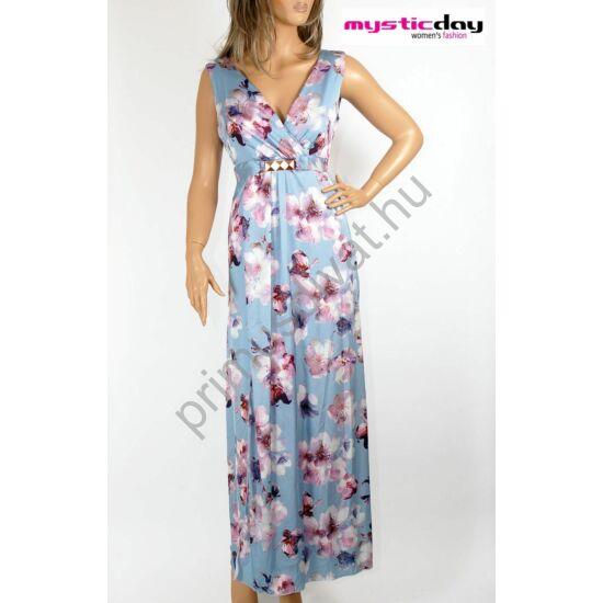 Mystic Day átlapolt elejű kék alapon lilás virágmintás ujjatlan lenge maxi ruha, mell alatt arany csatos megkötővel