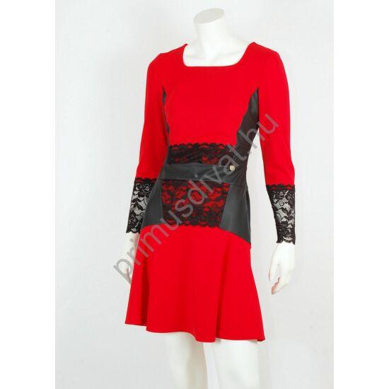 Mystic Day fekete textilbőr és csipke betétes, loknis aljú piros alkalmi Adala ruha